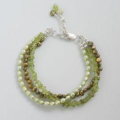 multi strand peridot pearl bracelet green by CretanHareCreations