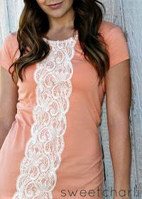 Get plain tee a lace shirt or lace and sew it right on top