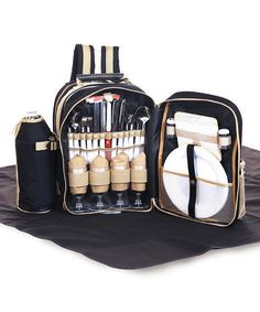 Black Four-Person Backpack Picnic Set by Picnic Plus #zulily