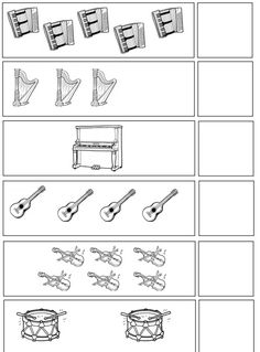 musical instruments number count worksheet for kindergarten Music Math, Kindergarten Music, Preschool Music, Kindergarten Math Worksheets, Preschool Education, Preschool Books, Music Classroom, Teaching Music, Music Education