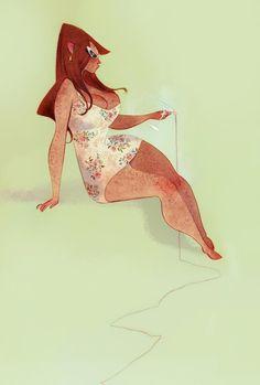 Aurelie at the Pool by Gillian Grossman  $15-20
