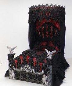Black and red gothic bed.