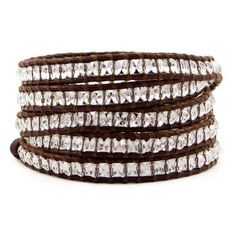 Clear Quartz Wrap Bracelet. Clear, square-cut quartz beads sparkle against the rugged brown leather of this versatile bracelet. Made by fairly paid artisans in Chan Luu's native Vietnam, it can be used in various ways. $190.00