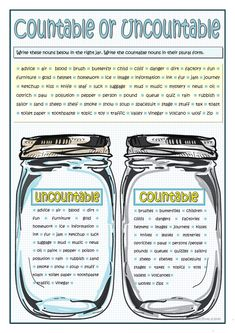 Grammar practice on nouns. Students fill in the jars with countable or uncountable nouns given. They write the countable nouns in their plural form. Teaching English Grammar, English Grammar Worksheets, English Resources, English Activities, English Writing, Education English, English Study, English Class, English Lessons