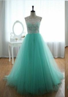 2016 Top Selling Long Charming Elegant White Lace Mint Tulle Prom Dresses For Teens
