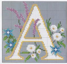 Patron punto de cruz Letra A con flores. de Hermitinas por DaWanda.com