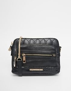 River Island Black Quilted Front Pocket Across Body Bag