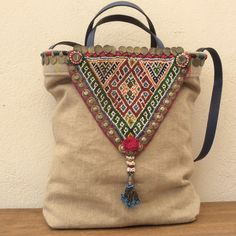 Kussen van Paula bag made with an Afghani necklace. http://kussenvanpaula.blogspot.co.uk/
