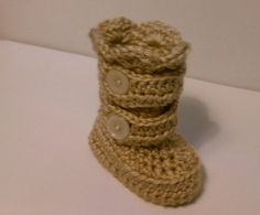 Baby Snow Boots Crocheted Baby Booties   by HobnobberyBoutique
