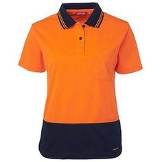 JB's Ladies Short Sleeve Comfort Polo Orange Navy Hi Vis Workwear, Safety Shop, Safety Clothing, Jackets Online, Apparel Design, Vest Jacket, Work Wear, Navy