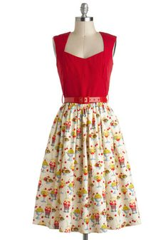 I'm All Cheers Dress in Sundae Best by Bernie Dexter - Novelty Print, Belted, Twofer, Fit & Flare, Cotton, Long, Tan / Cream, Multi, Casual, Vintage Inspired, 50s, Sleeveless, Multi, Red, Rockabilly