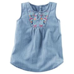 Baby Girl Carter's Floral Embroidery Chambray Tank Top, Size: 24 Months, Blue Other