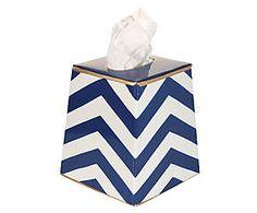 Boîte à mouchoirs peinte à la main CHEVRON acier, bleu et blanc - 15*15