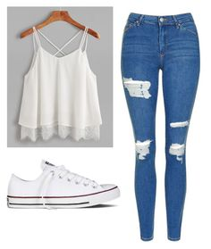 """Untitled #521"" by cuteskyiscute ❤ liked on Polyvore featuring Topshop and Converse"