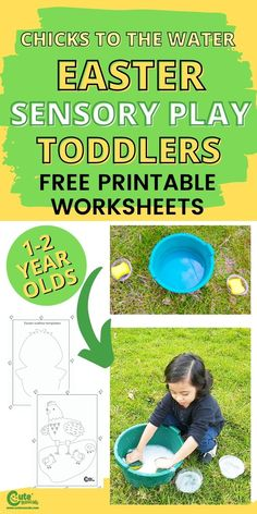 Surprise kids with fun Easter activities for toddlers. Sensory play is important for a child's development and this is a good way to keep them entertained. Chicks to the water is a simple but fun activity that toddlers would love. #easteractivities #kidsactivities #freeprintables #kidsworksheets #preschool