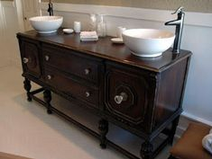 Antique dresser turned vanity {painting the roses white} the, how to turn a cabinet into a bathroom vanity. Bathroom vanity transformation with diy chalk type paint farm fresh. Bathroom Sink Bowls, Small Bathroom Vanities, Bathroom Vanity Cabinets, Chic Bathrooms, Sinks, Vessel Sink, Bathroom Sets, Bling Bathroom, Bathroom Bin