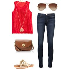outfit red shirt skinny jeans brown bag