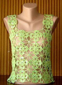 Crochet Light Green Cotton Top Tank Halter with by sebsurer, $55.00