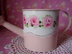 Watering Can Hand Painted Shabby Chic Pink Roses by pinkrose1611, $20.00