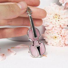 Broche cristal manchado rosa violín técnica Tiffany arte de
