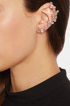Ryan Storer|Rose gold-plated Swarovski crystal ear cuff and stud earring|NET-A-PORTER.COM