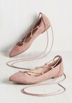Pliés as Punch Flat - Blush, Solid, Work, Casual, Graduation, Wedding Guest, Pastel, Minimal, Summer, Fall, Flat, Better, Lace Up, Pink, Pastel, Faux Suede
