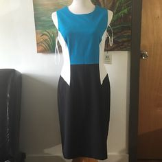 ColorBlock sleeveless Calvin Klein dress.  Size 8. ColorBlock sleeveless dress.  New.  Color: white, blue and black. Shell material: Polyester, rayon and spandex.  Lining: 100% polyester. Care: dry clean only. Size: 8 Calvin Klein Dresses Midi