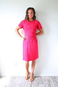 3c6a023915f Vintage hot pink body con dress // modest Sm. 1950's 1960's hot pink dress  // pink bow // party dress body con dress // wiggle pencil dress