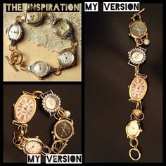 """Junk Gypsy's DIY How-To Guide: Simply takes """"No Time At All"""" DIY Vintage Watch Face Charm Bracelet Vintage Watches, Old Watches, Steam Punk Jewelry, Old Jewelry, Unique Jewelry, Jewelry Art, Jewelry Crafts, Vintage Jewelry, Jewelery"""