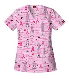 Styles we love: Breast cancer awareness scrubs top! #BreastCancer #Fashion #Scrubs