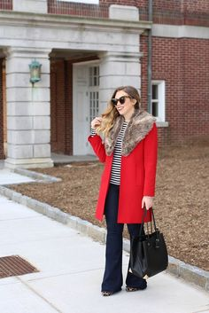 Red Coat | Fur Collar | Flare Jeans | Striped Shirt |