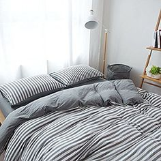 PURE ERA Jersey Knit Cotton Soft Comfy Home Bedding Sets Striped Duvet Cover and Pillow Shams Grey Queen Size