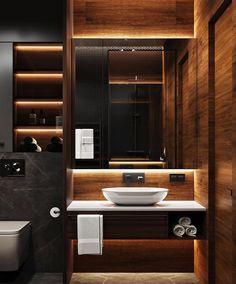 Pin on Pomysły wnętrz Washroom Design, Toilet Design, Bathroom Design Luxury, Modern Bathroom Design, Modern Design, Home Room Design, Home Interior Design, Bathroom Styling, Bathroom Lighting