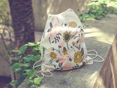 Flowers - screen printed canvas backpack tote