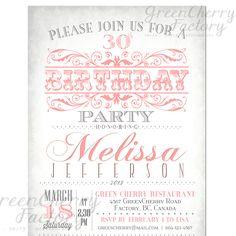 Milestone Adult Birthday Invitation  Vintage by GreenCherryFactory, $18.00