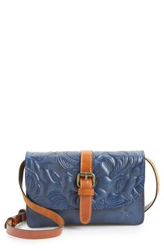 Women's Patricia Nash 'Tooled Rose - Torri' Italian Leather Crossbody Bag - Blue