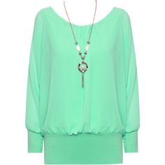 Zia Necklace Chiffon Sheer Blouse (34 AUD) ❤ liked on Polyvore featuring tops, blouses, shirts, green, long chiffon blouse, party shirts, loose shirts, see through blouse and sheer shirt