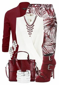 "not the boots though.""Burgundy & White"" by jennifernoriega ❤ , Giuseppe Zanotti, Lucky Brand, Forever 21 and Saqqara Classy Outfits, Casual Outfits, Stylish Work Outfits, Jw Mode, Looks Plus Size, Complete Outfits, Business Outfits, Business Wear, Mode Outfits"