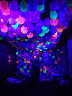 Neon Ballon Ceiling with black light