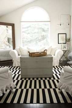 Love this room but Oh my this rug! IKEA Stockholm rug...