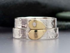 Diamond Heart Wedding Band Set in 14k Gold and Hammered Sterling Silver - We Hold One Heart. $388