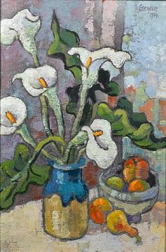 View Still life with arum lilies by Gregoire Johannes Boonzaier on artnet. Browse upcoming and past auction lots by Gregoire Johannes Boonzaier. Flowers In Vase Painting, Lily Painting, Acrylic Flowers, Abstract Flowers, Watercolor Bird, Watercolor Paintings, Tea Bag Art, Landscape Artwork, Still Life