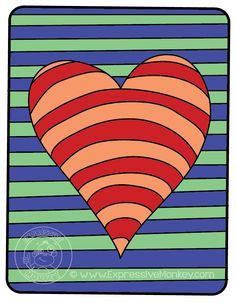 Op Art Hearts Color Study by Expressive Monkey.  Warm & Cool Colors