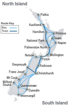 NZ Train/Bus route map
