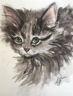 """Daily Paintworks - """"A dream of a Kitten"""" - Original Fine Art for Sale - © Annette Balesteri"""