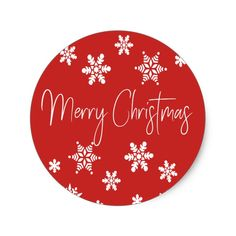 Merry Christmas White Snowflakes Red Classic Round Sticker Create Your Own and Christmas 24, Christmas Stickers, Christmas Gifts For Women, Christmas Treats, Christmas Greetings, Christmas Traditions, All Things Christmas, Christmas Ornaments, White Snowflake