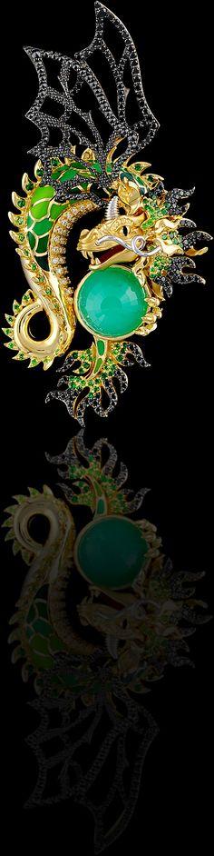 Pendant 6486 Collection: Mysticism  18K yellow and white gold, chrysoprase 6,23 ct, diamonds, black diamonds, demantoid, tsavority, enamel.  Similar products: