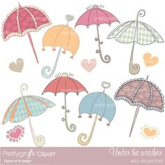 Feeling under the weather, well cheer up your designs with 13 sweet and dainty umbrella clipart, perfect for scrapbooking, cards, invtiations and more.