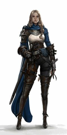 ArtStation - Hunter, JuYoung Ha (untitle) female DnD / Pathfinder character with leather armour and sword Fantasy Female Warrior, Female Armor, Female Knight, Fantasy Armor, Fantasy Women, Fantasy Girl, Woman Warrior, Female Soldier, Dungeons And Dragons Characters