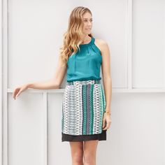 Pinch-free & polished? Yes! You can look great & grown-up in green for St. Patrick's Day with a halter blouse & printed skirt.